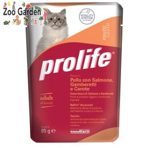Prolife cat adult pollo salmone gamberetti carote 85gr